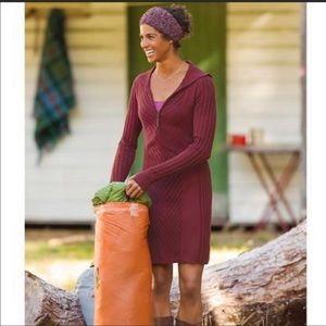 Athleta Ribby Ribbed Wool Sweater Dress Red Medium